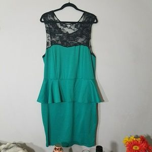 Dresses & Skirts - Teal & Black Lace Peplum Dress  - 2X